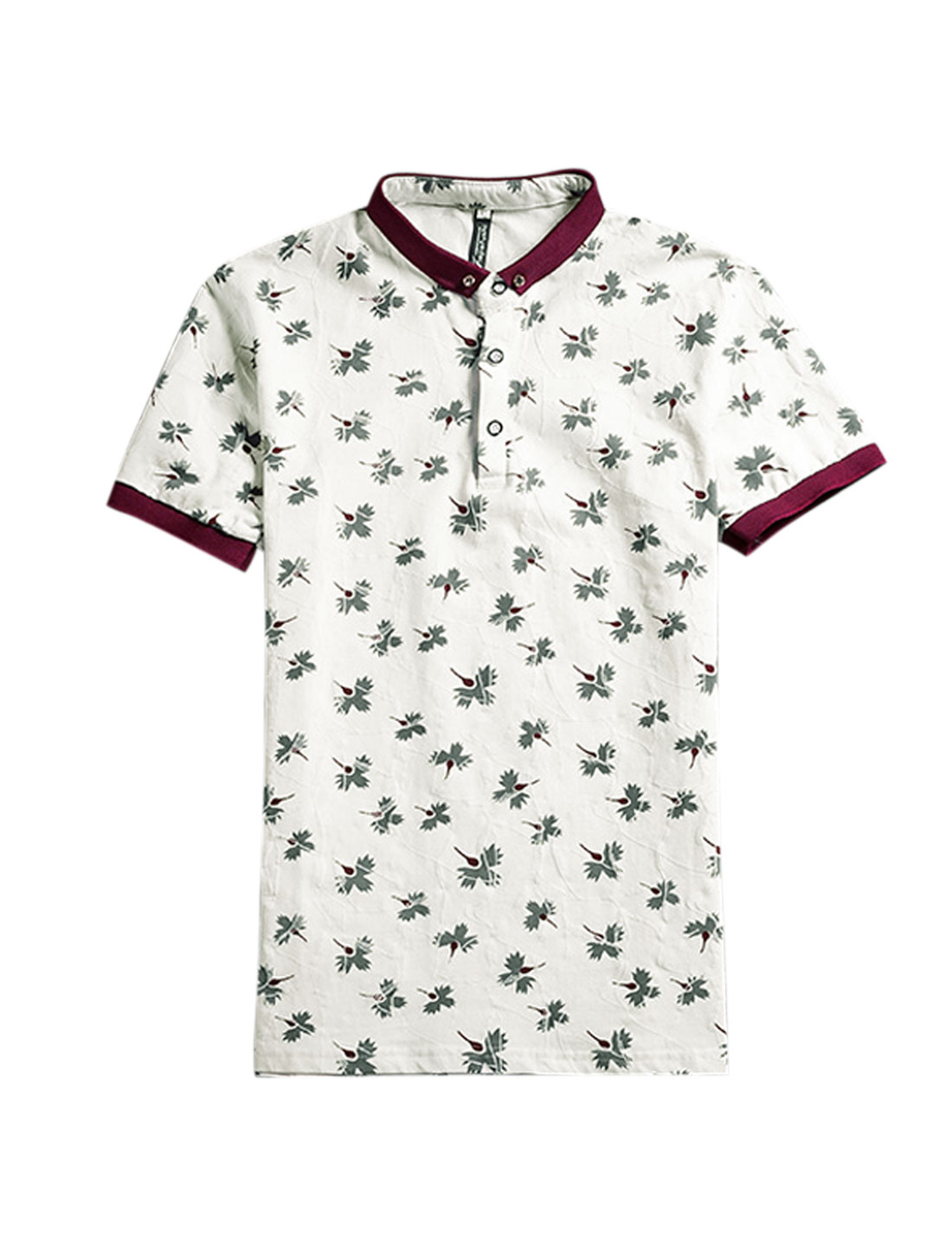 Man Leaves Prints Short Sleeves Polo Shirts Gray White S