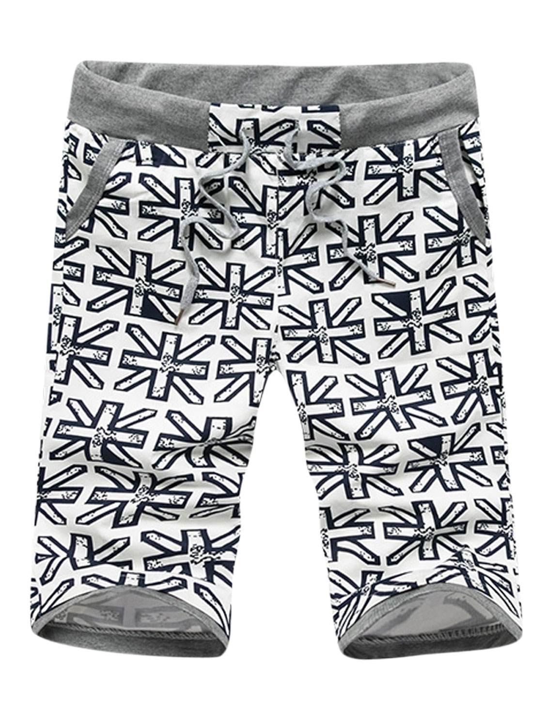 Man Union Jack Flag Pattern Drawtring Waist Casual Shorts White W30