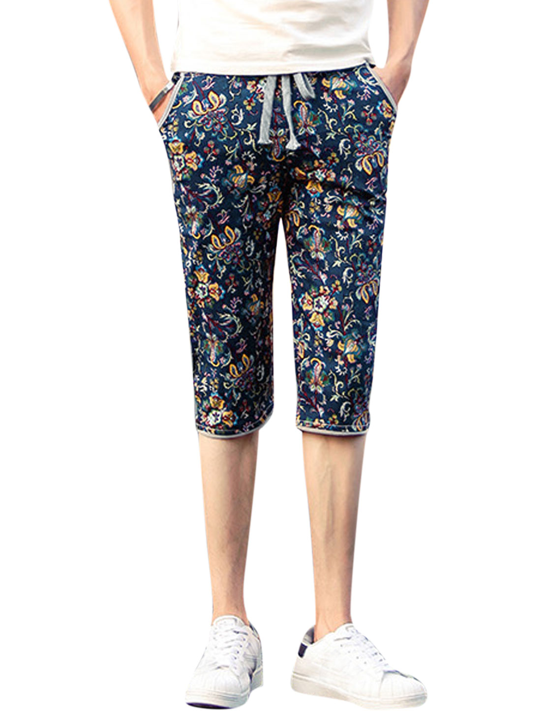 Men Elastic Waist Floral Prints Casual Capri Pants Navy Blue S