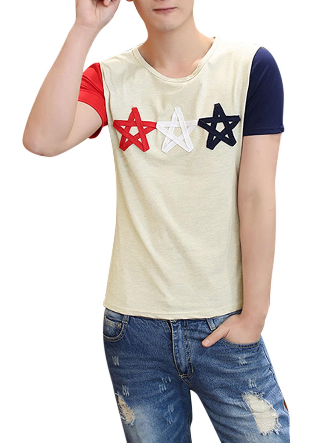 Men Short Sleeves Stars Applique T-Shirts Beige S