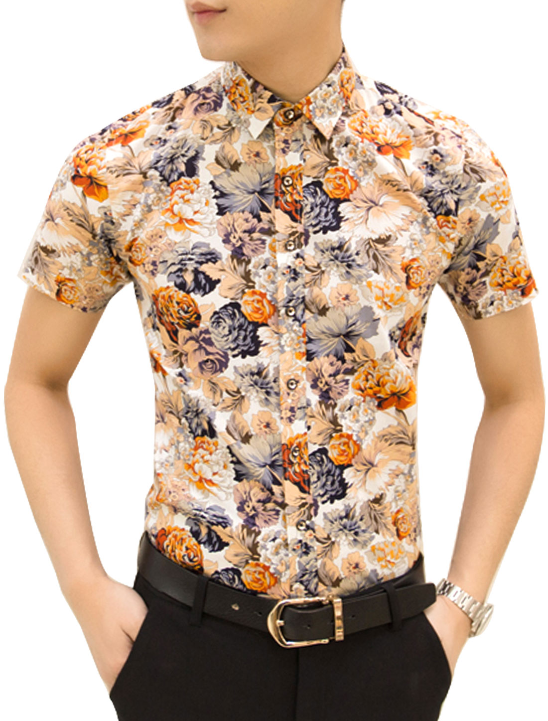 Men Short Sleeve Floral Print Button Down Slim Fit Shirt Multicolor M