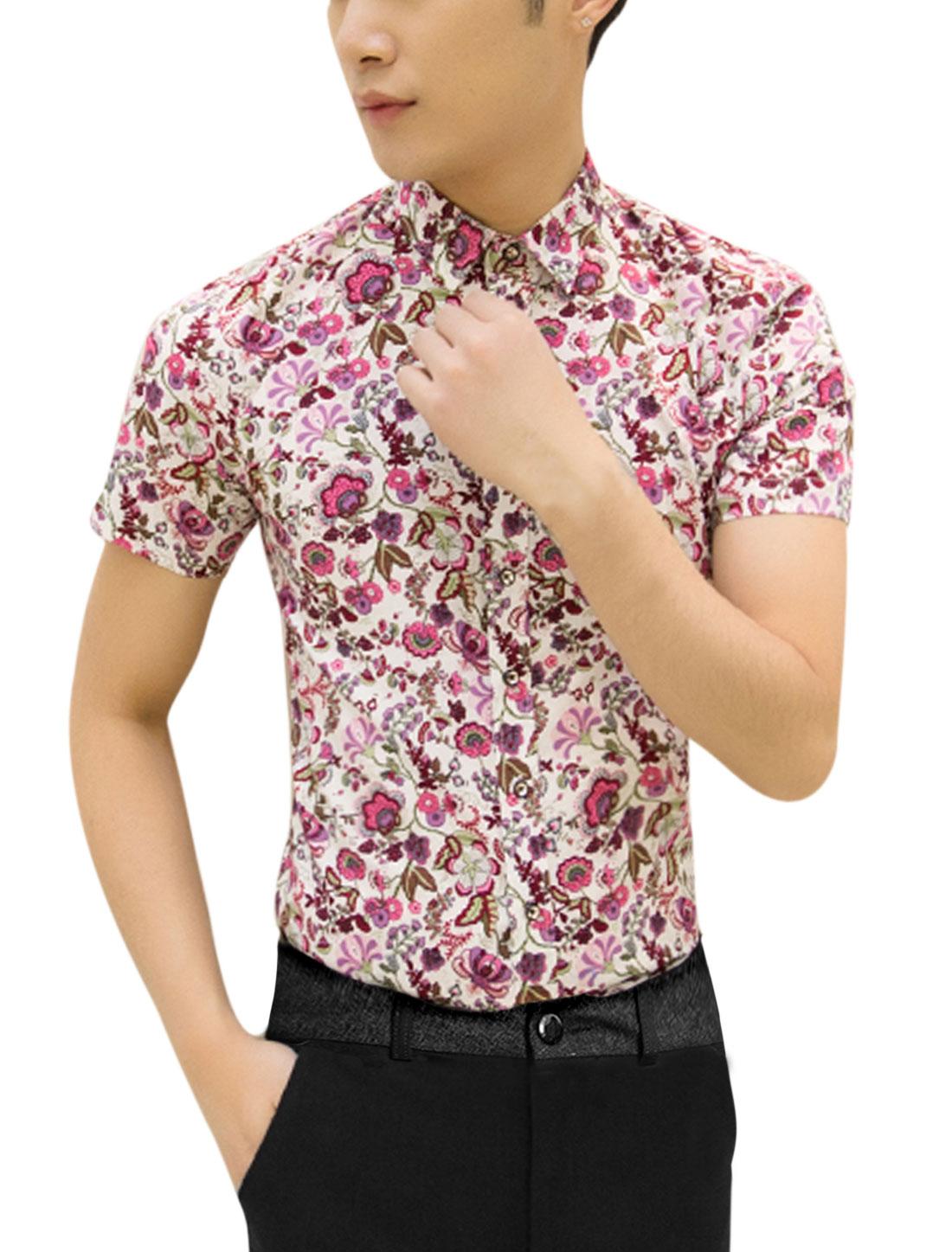 Men Short Sleeve Point Collar Flower Print Slim Fit Shirt Beige Fuchsia M