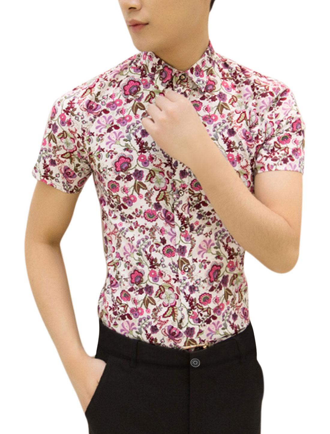 Men Short Sleeve Point Collar Slim Fit Button Up Shirts Beige Fuchsia M