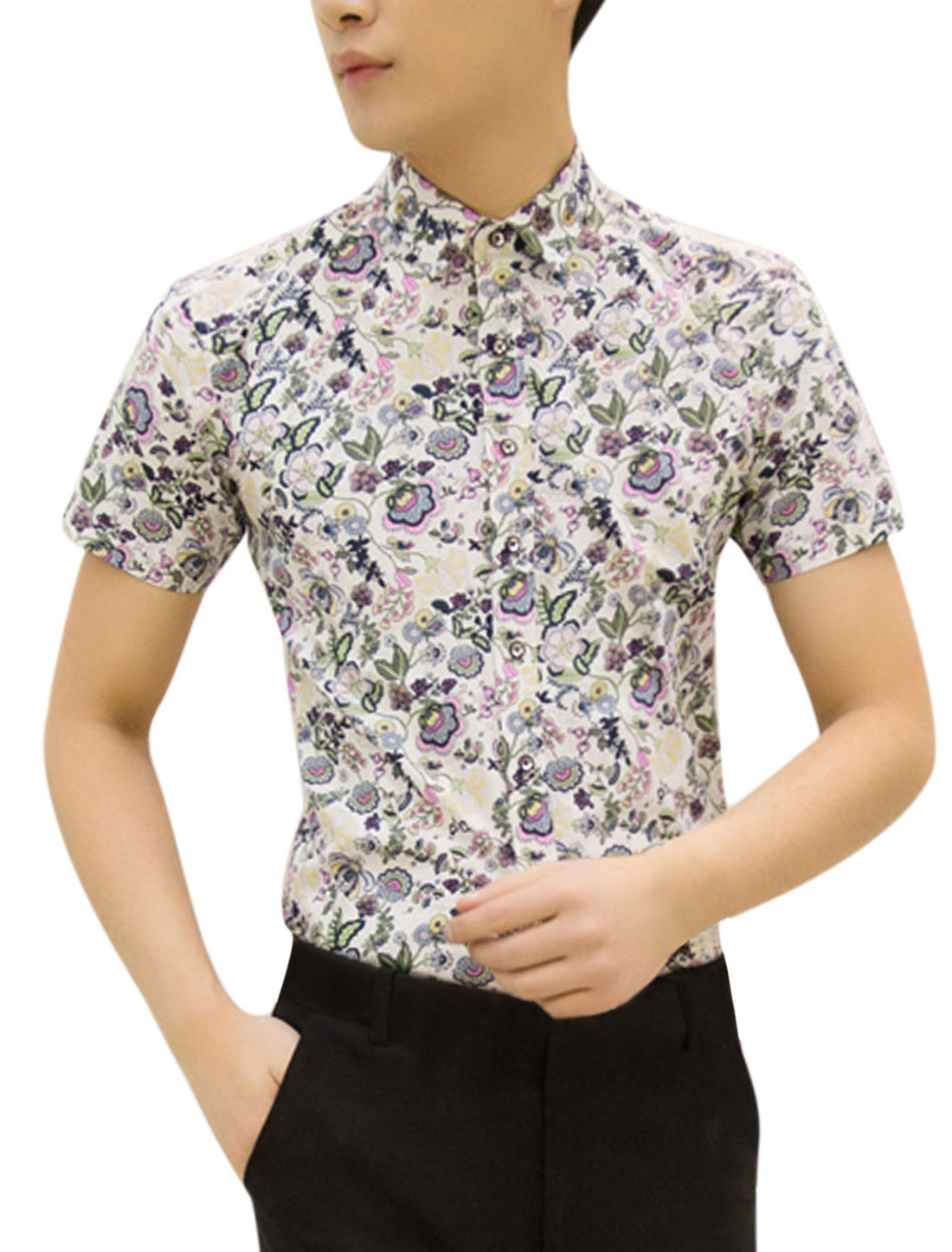 Men Point Collar Floral Pattern Button Up Summer Shirt Beige Yellow M