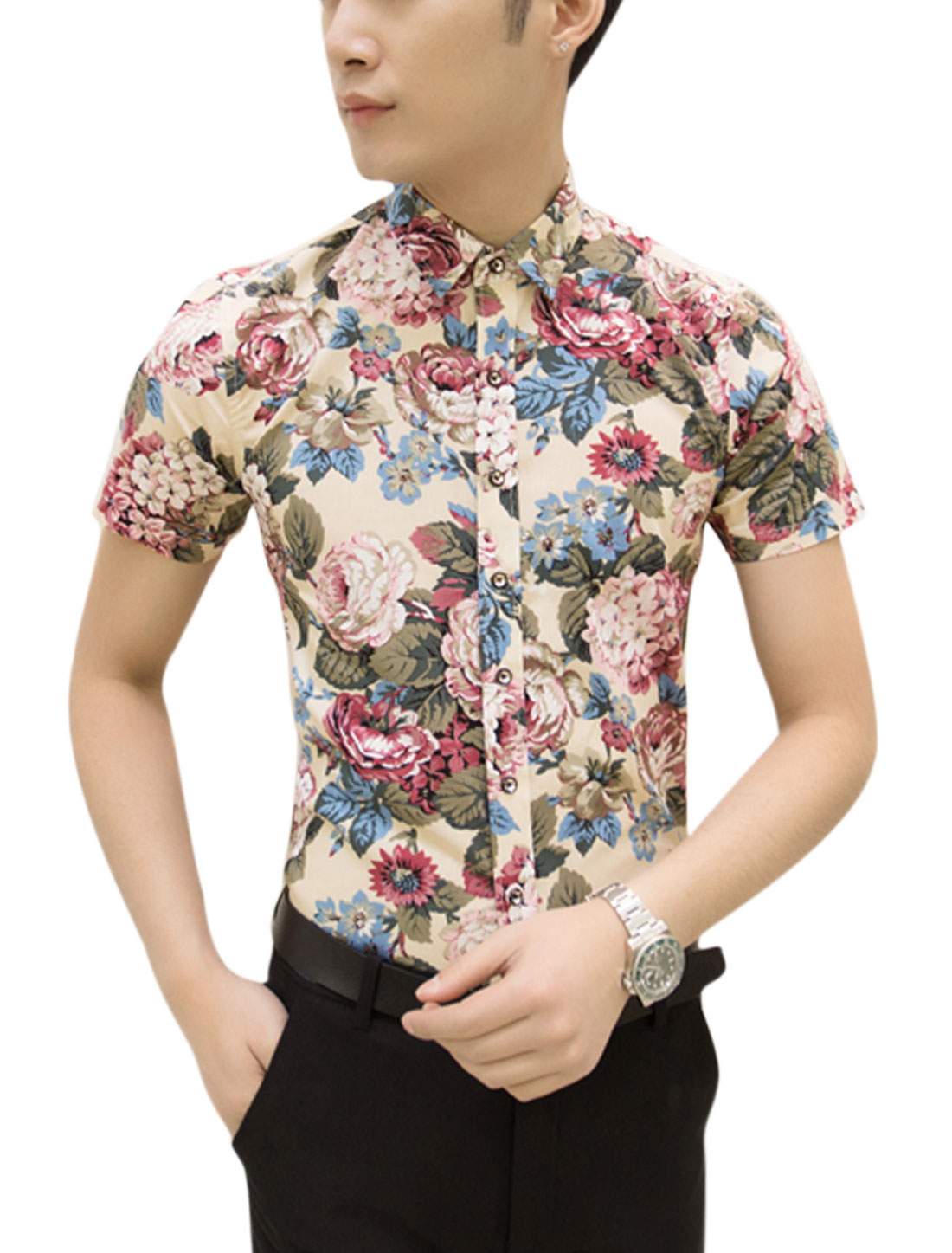 Men Short Sleeve Point Collar Floral Print Slim Fit Shirts Beige Moss M