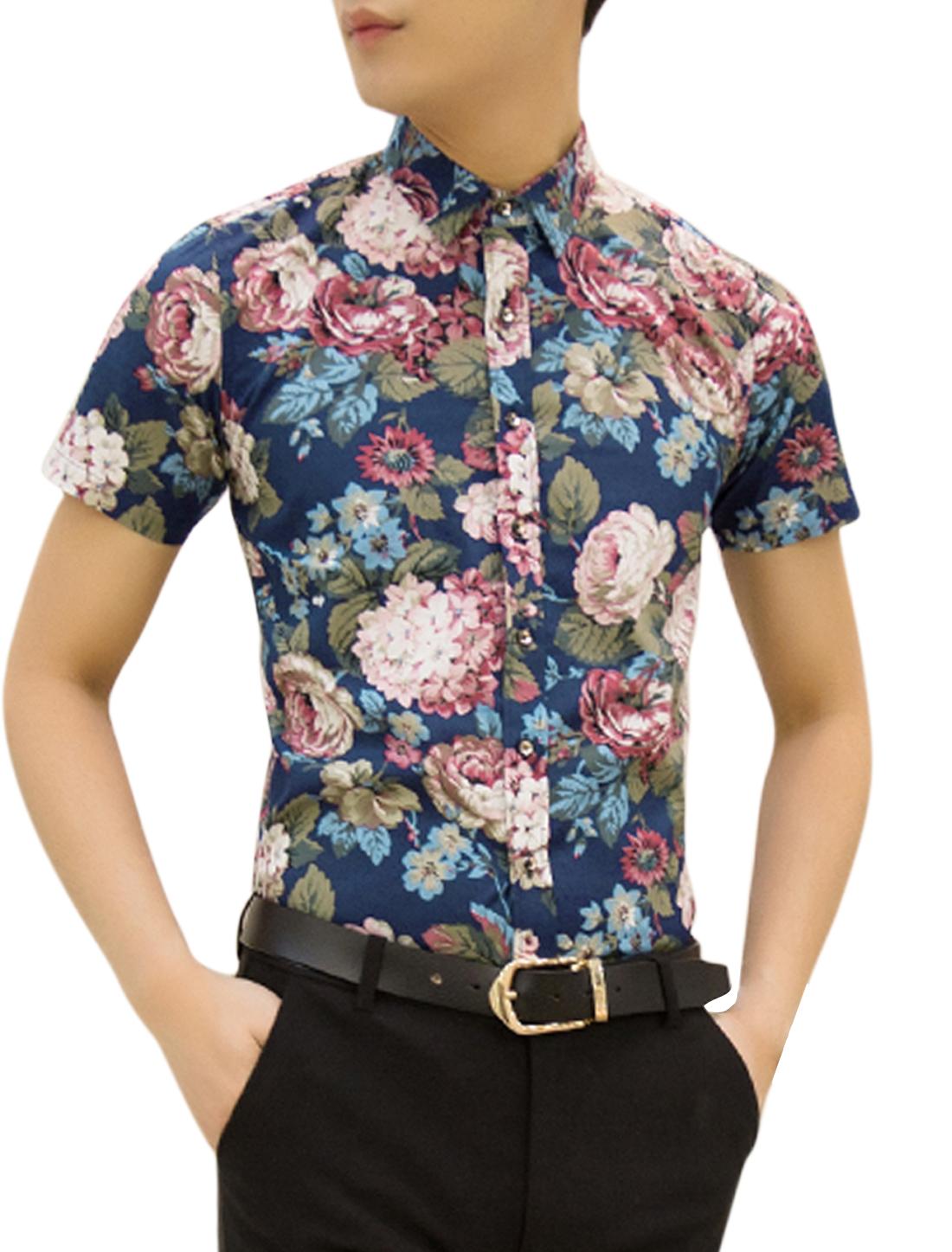 Men Short Sleeve Floral Print Button Up Summer Shirt Navy Blue Moss M