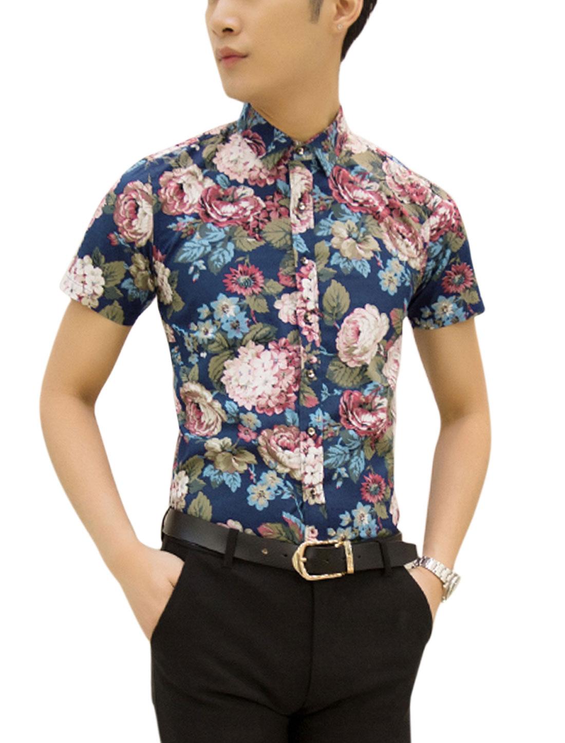 Men Point Collar Flower Print Button Up Leisure Shirts Navy Blue Moss M