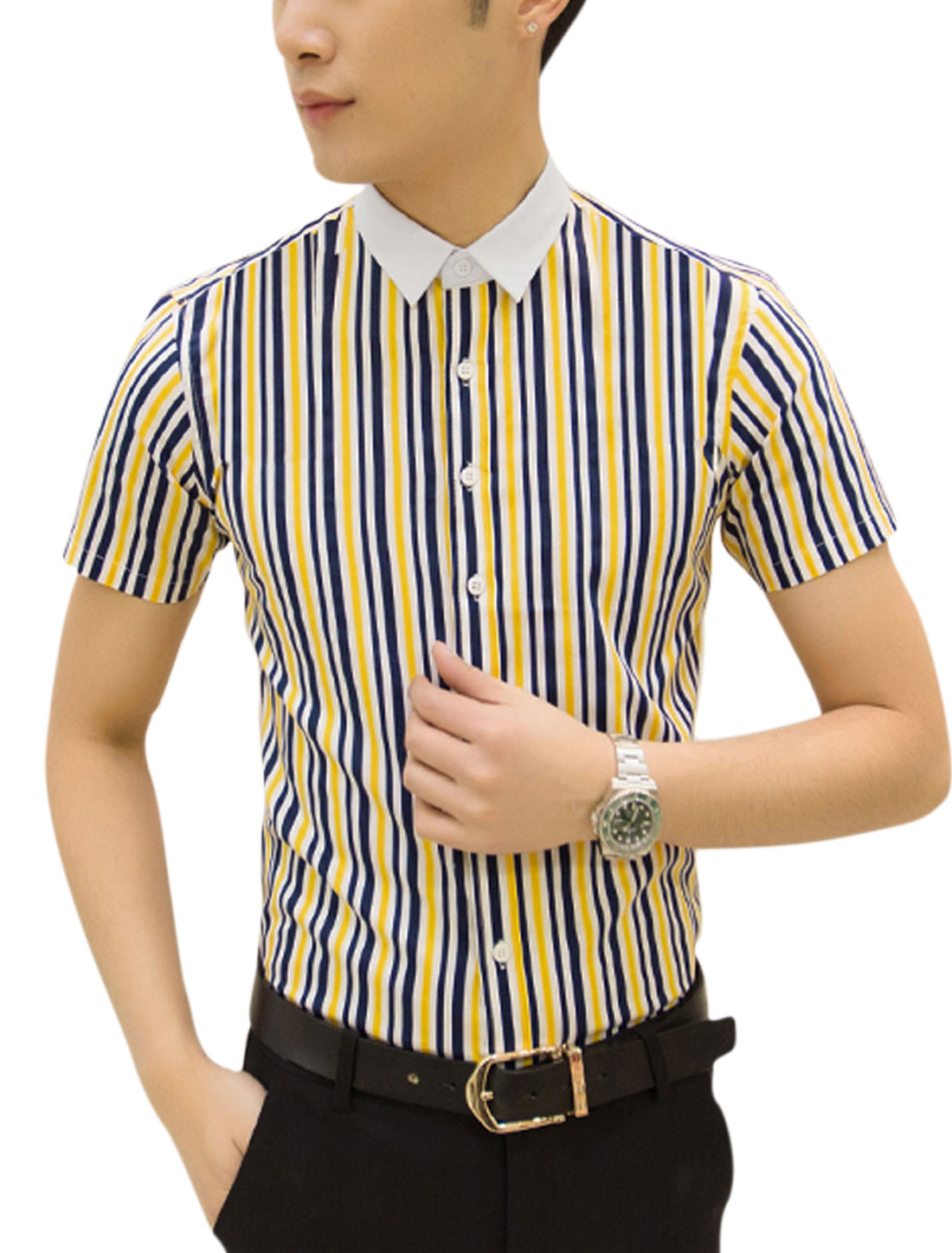 Man Striped Point Collar Short Sleeves Casual Tops Yellow White M