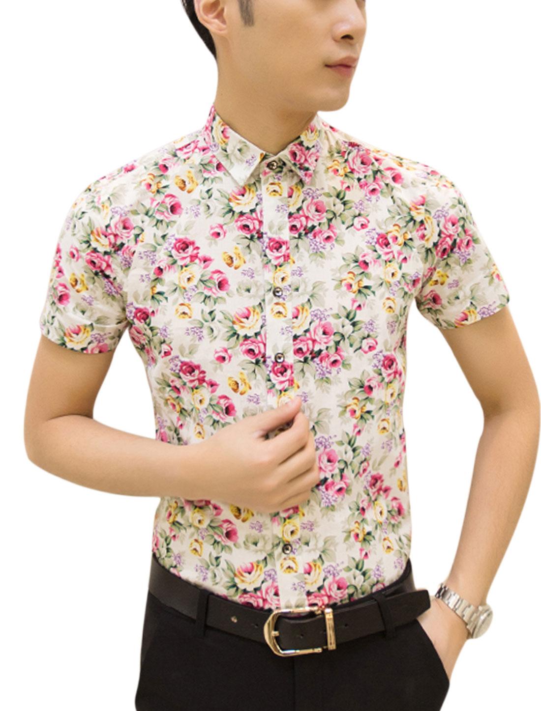 Man Floral Prints Short Sleeves Round Hem Leisure Shirts Biege Fuchsia M