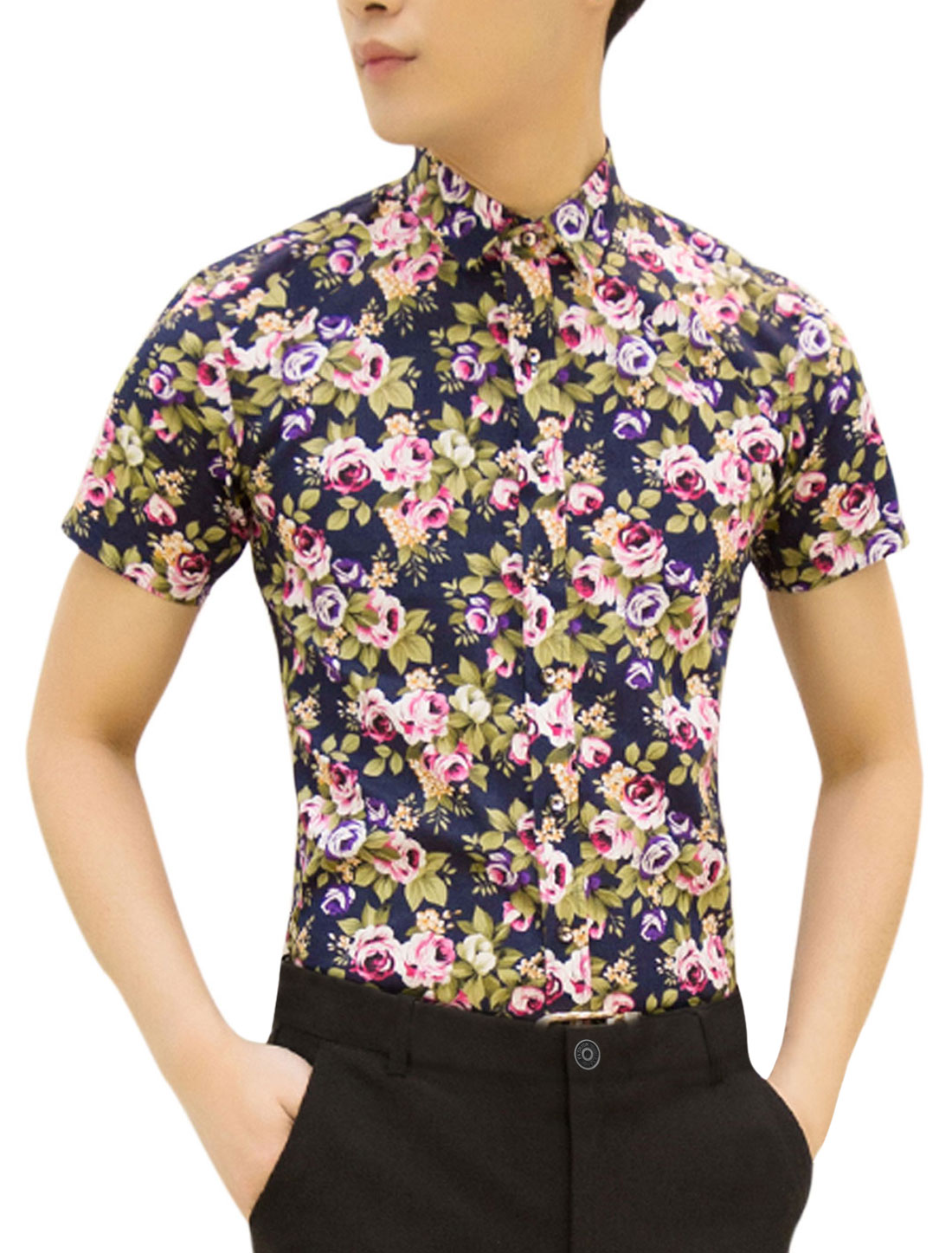 Men Point Collar Flower Prints Casual Shirts Navy Blue Fuchsia M