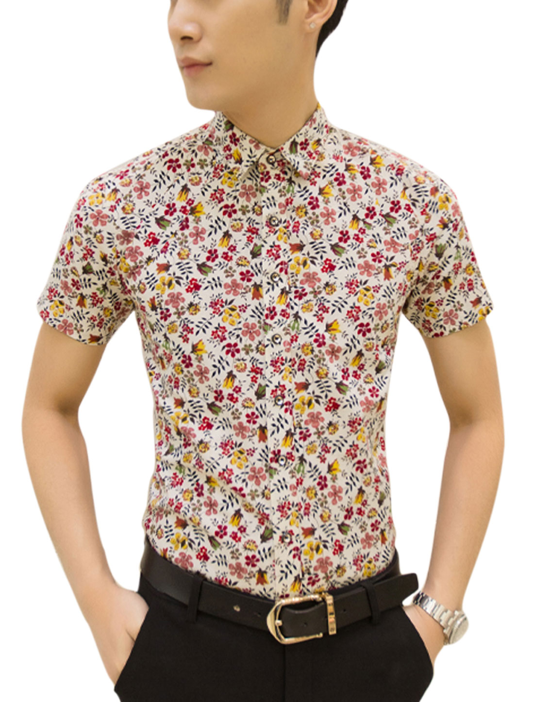 Men Short Sleeves Floral Prints Button Down Shirts Red White M
