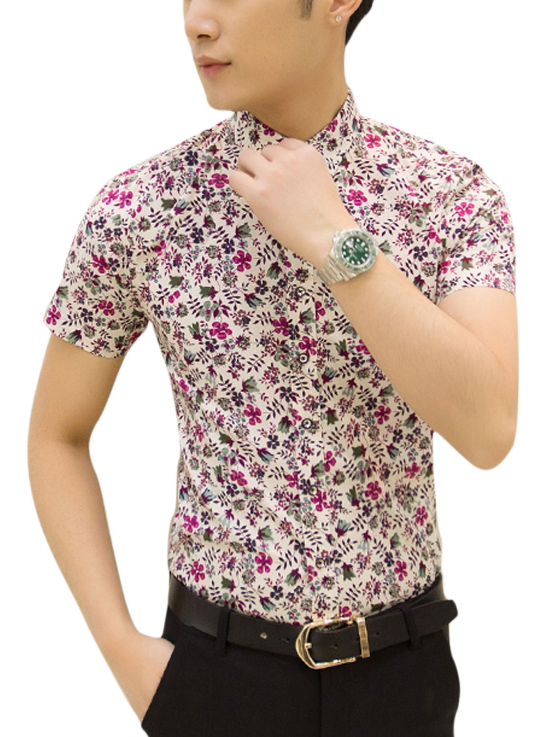 Man Point Collar Short Sleeves Floral Printed Casual Shirts Purple White M