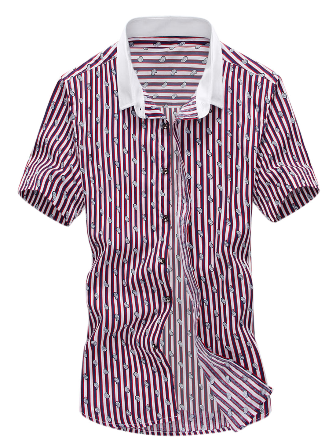 Man Vertical Stripes Paisley Pattern Point Collar Short Sleeves Shirt Red White M