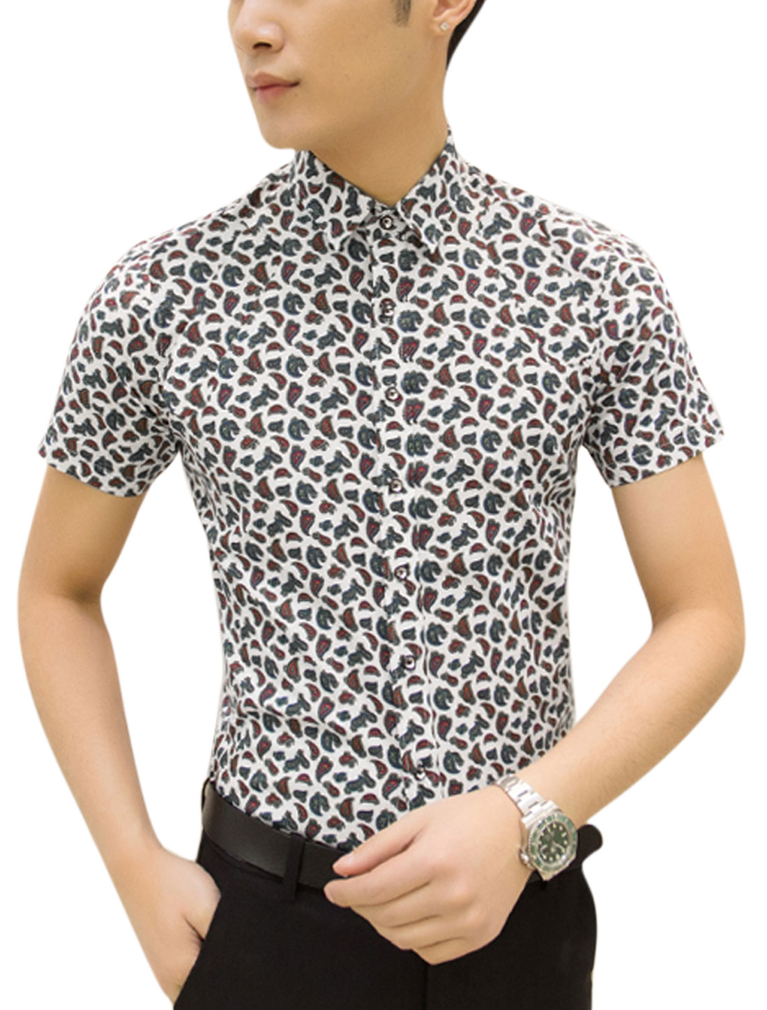 Man Paisley Pattern Short Sleeves Button Down Casual Shirt White M
