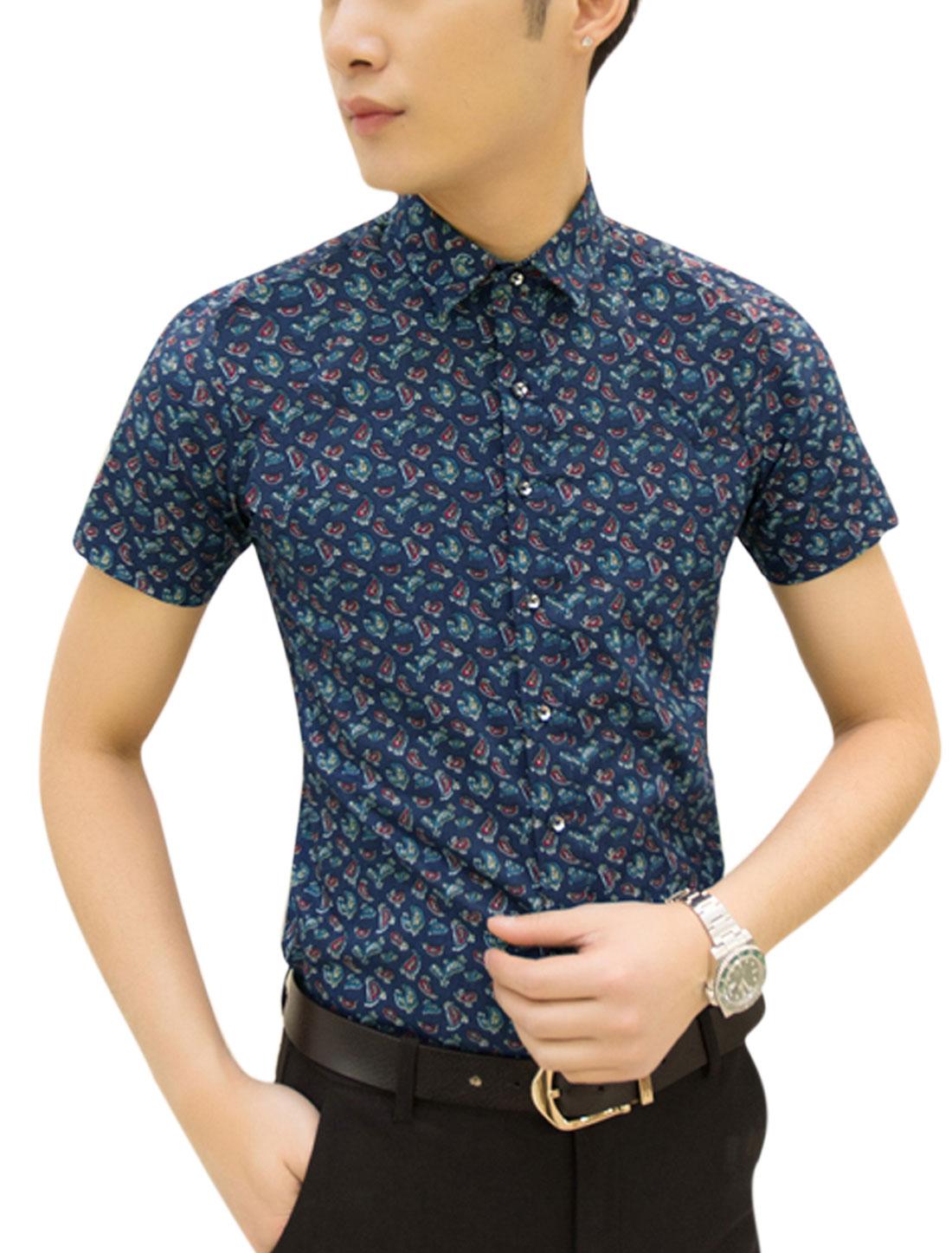 Man Paisley Pattern Short Sleeves Point Collar Casual Shirt Navy Blue M