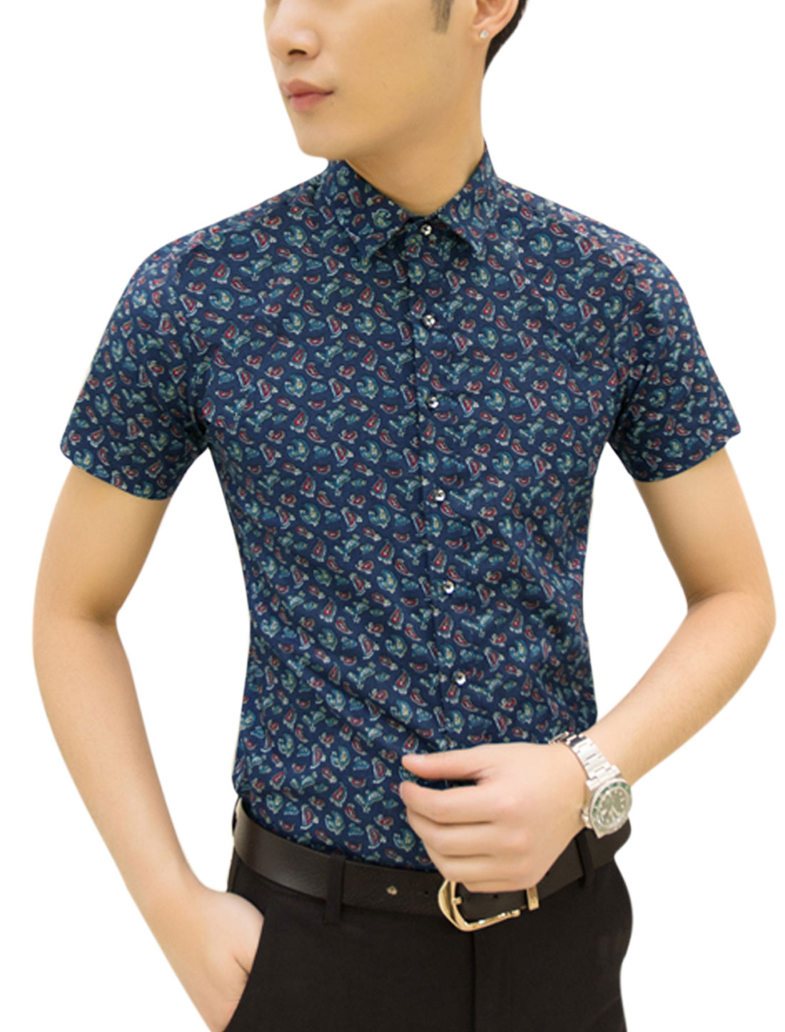 Man Paisley Pattern Point Collar Button Closure Leisure Shirt Navy Blue M