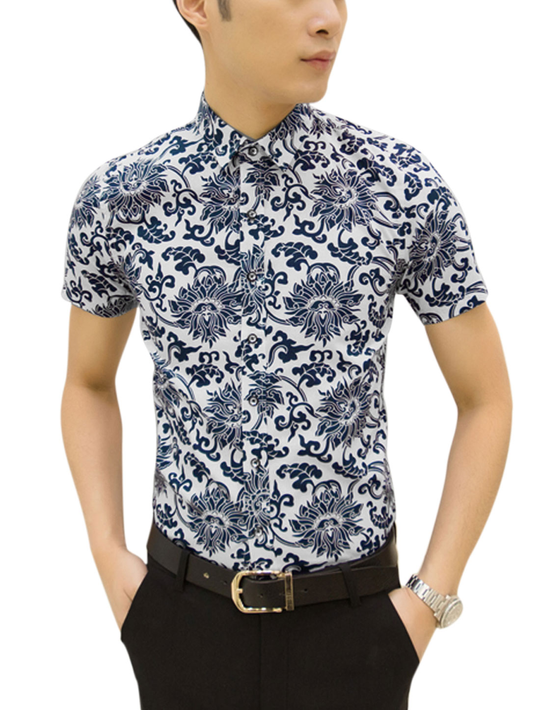 Man Floral Prints Short Sleeves Casual Shirt Navy Blue White M