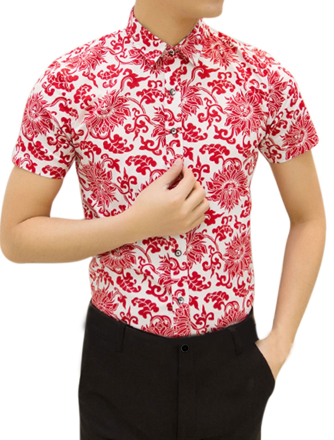Man Floral Prints Point Collar Single Breasted Casual Shirt Red White M