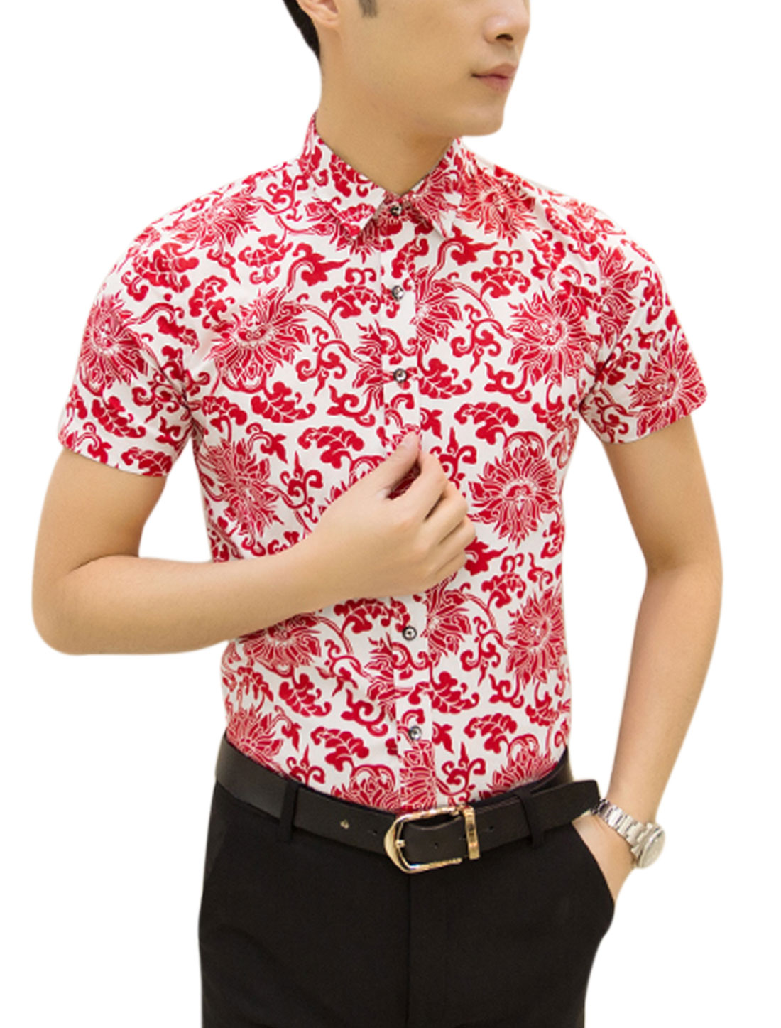 Man Floral Prints Point Collar Button Down Casual Shirt Red White M