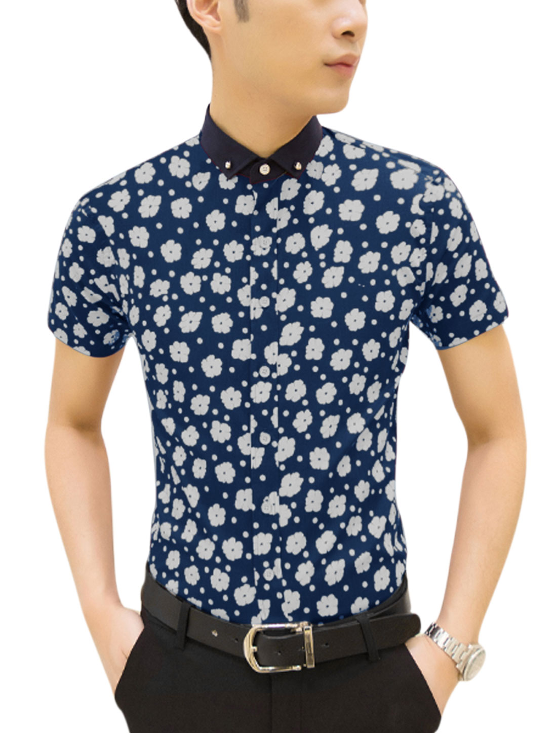 Men Floral Prints Contrast Color Point Collar Short Sleeves Shirt Navy Blue M