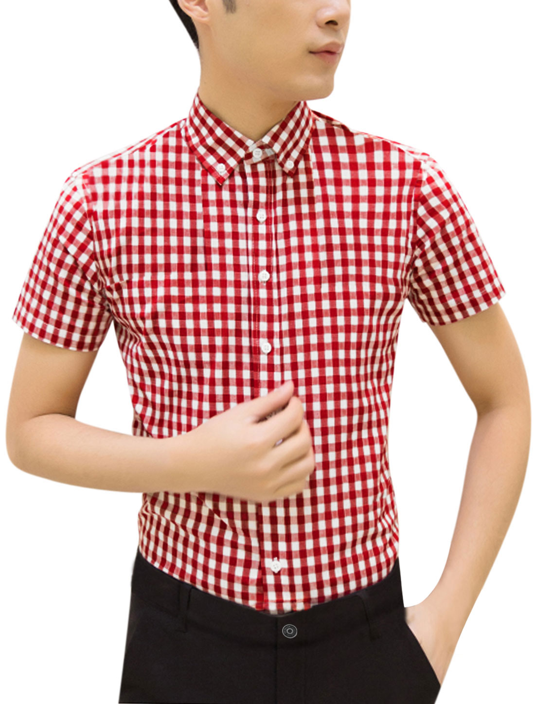 Man Plaids Short Sleeves Button Closed Point Collar Shirt Red White M