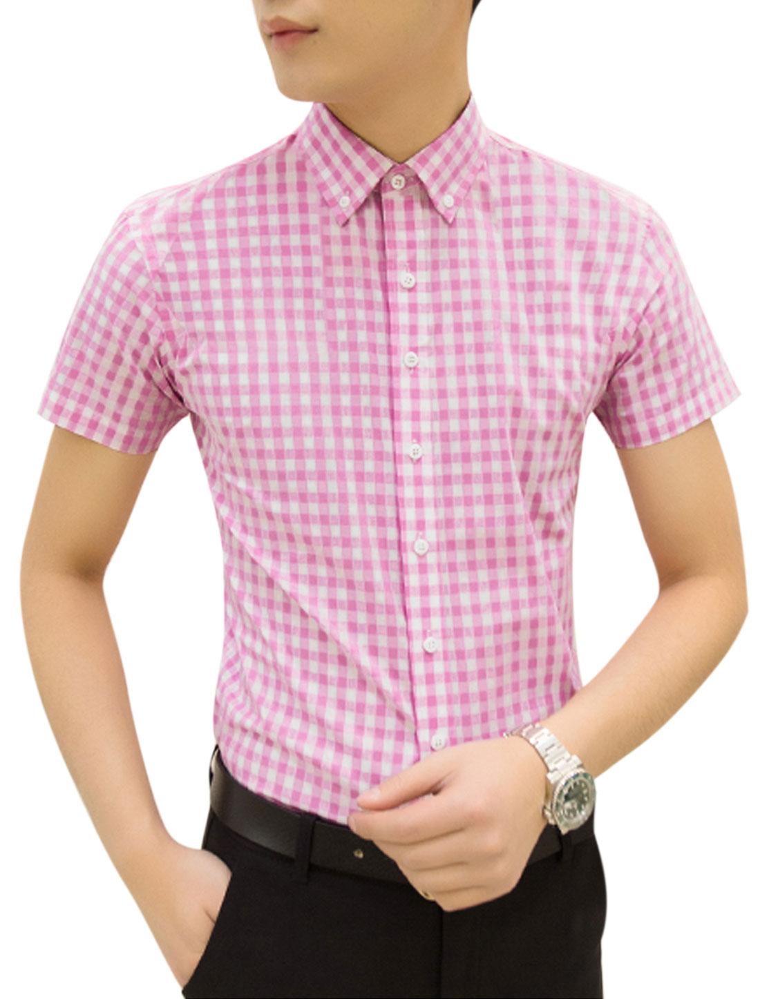 Man Checks Short Sleeves Button Down Point Collar Casual Shirt Pink White M