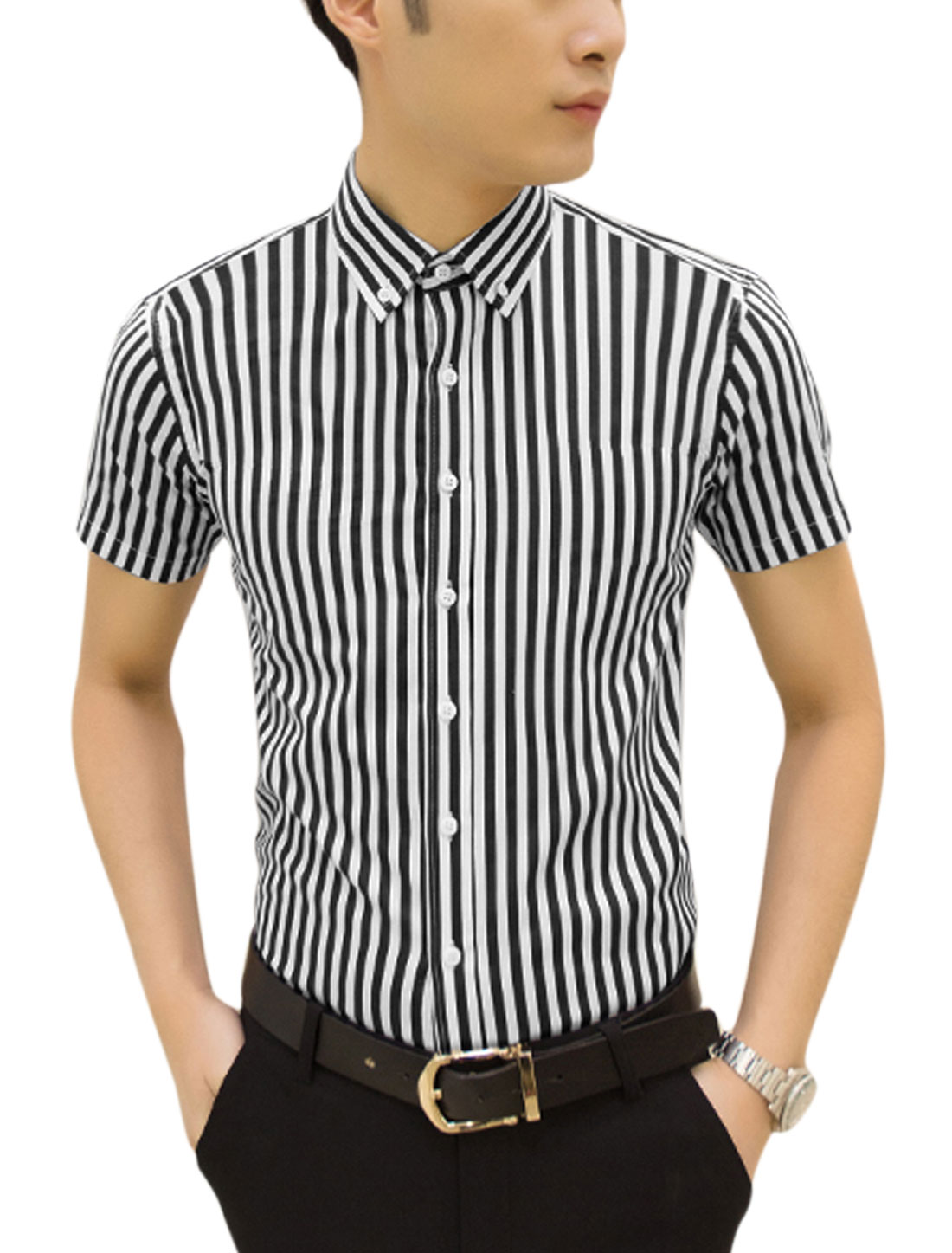 Men Point Collar Short Sleeves Striped Casual Shirts Navy Blue White M