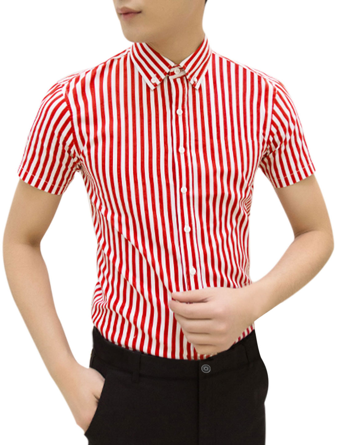 Men Point Collar Short Sleeves Bar Striped Button Down Shirts Red White M