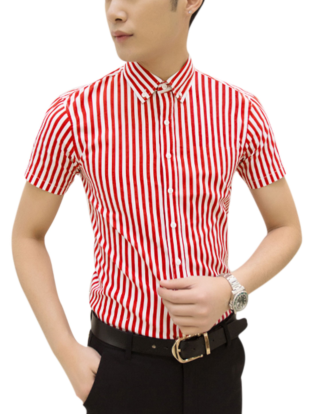 Man Short Sleeves Stripes Round Hem Casual Shirts Red White M