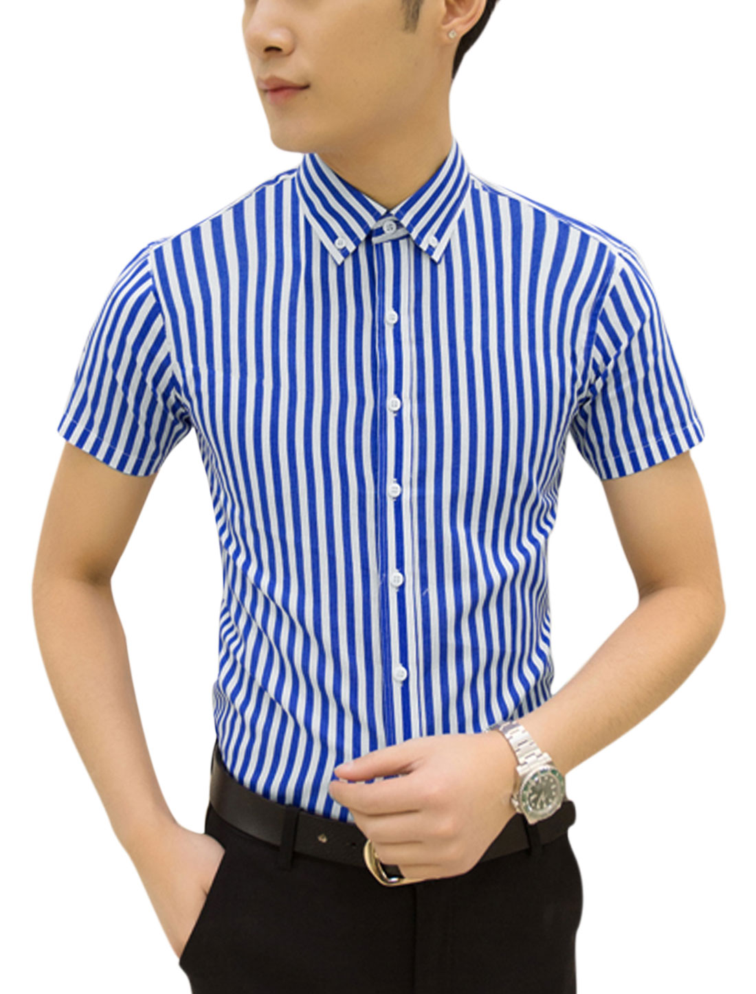 Men Short Sleeves Button Closed Striped Casual Shirts Blue White M