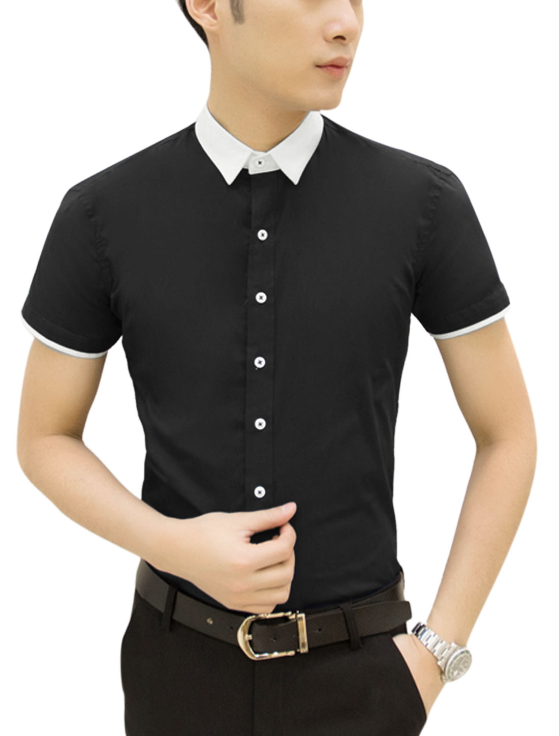 Man Point Collar Short Sleves Button Closure Casual Shirts Black M