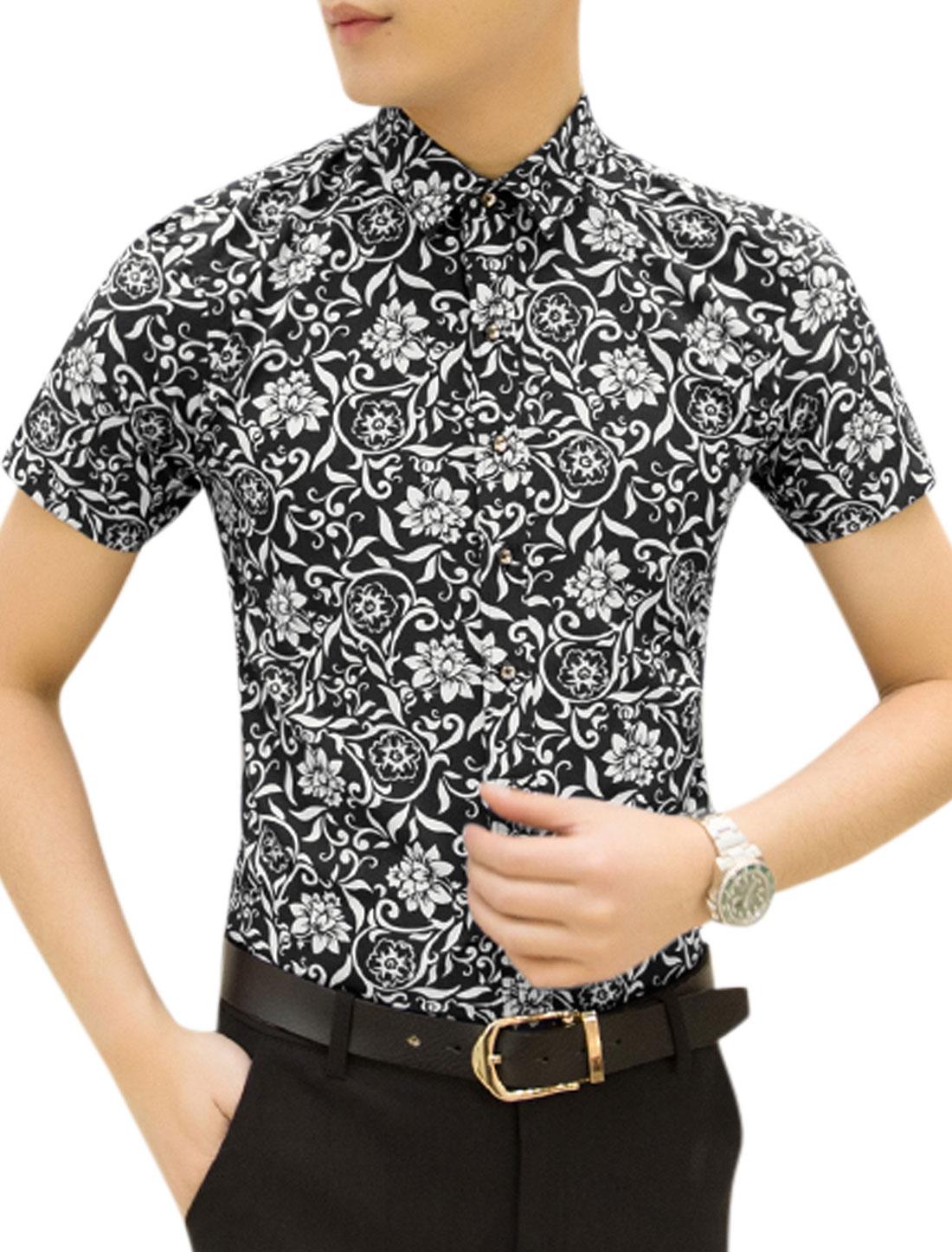 Men Flower Printed Short Sleeves Casual Tops Black M