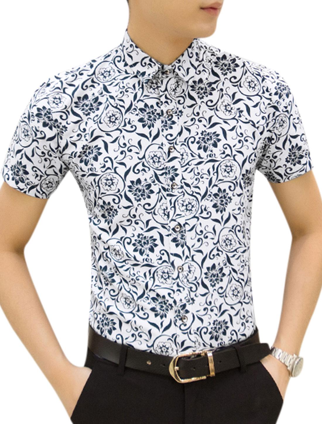 Men Point Collar Short Sleeves Flower Printed Button Down Shirts White M