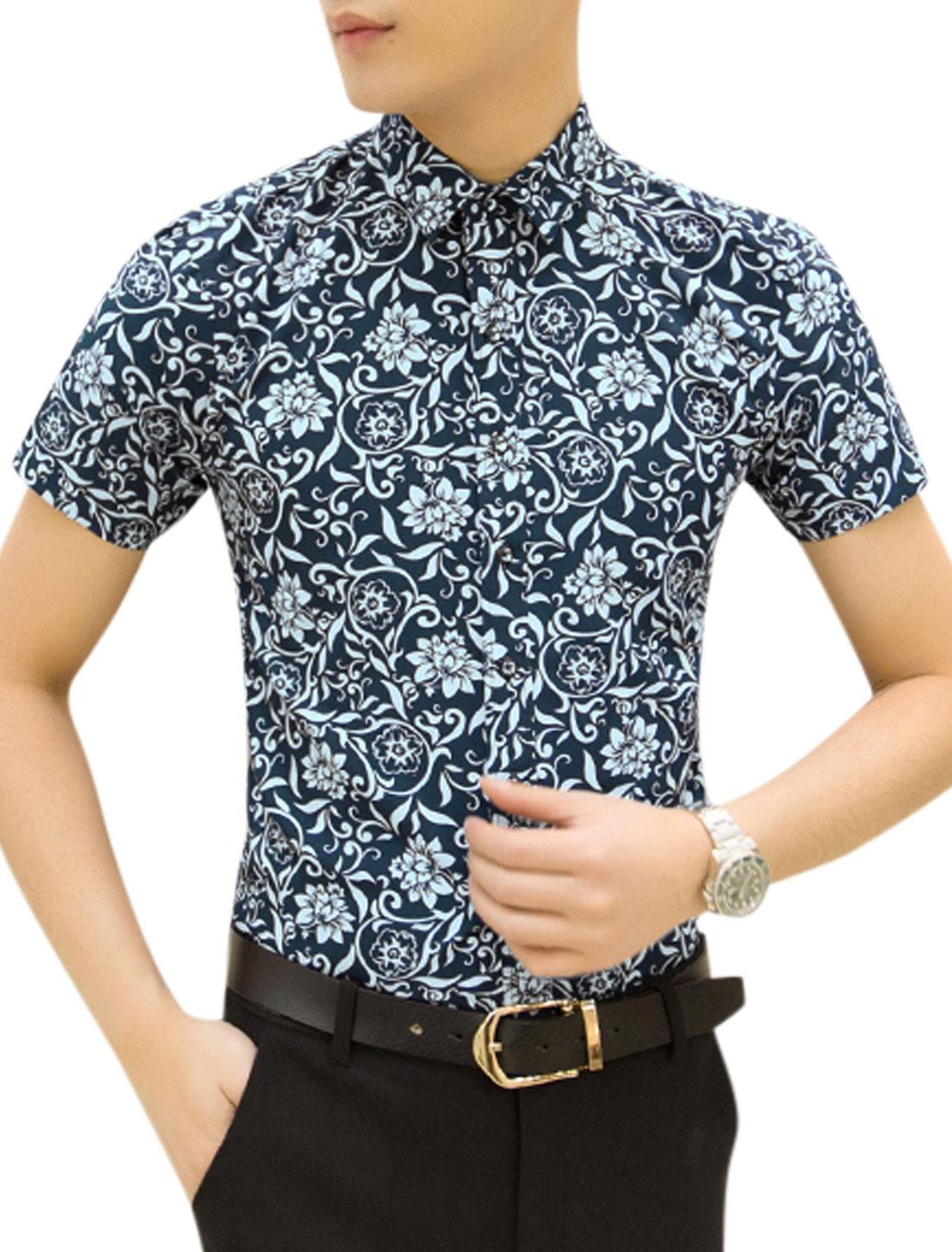 Men Short Sleeves Floral Printed Casual Tops Navy Blue M