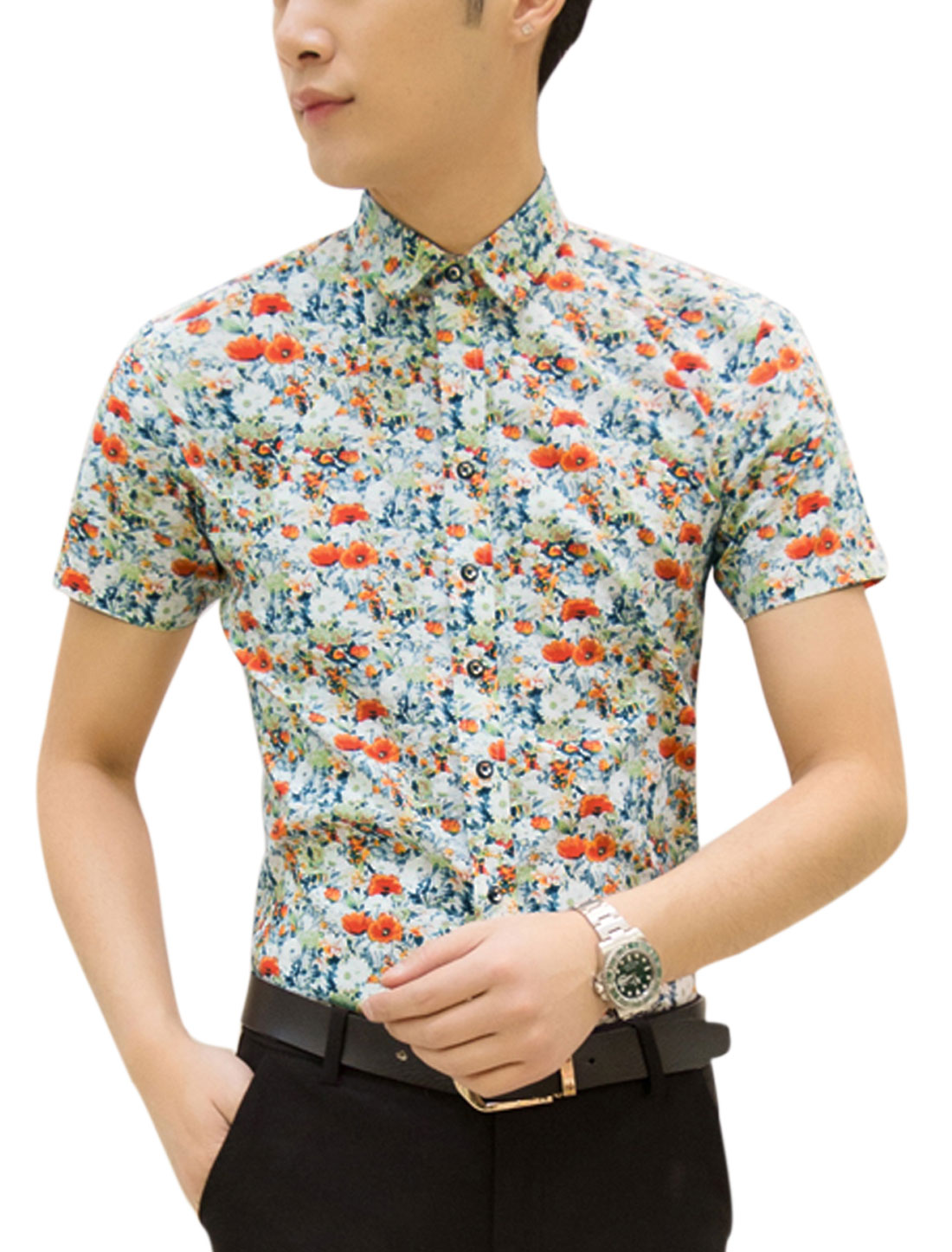 Men Short Sleeve Point Collar Floral Print Button Up Summer Shirt White Orange M
