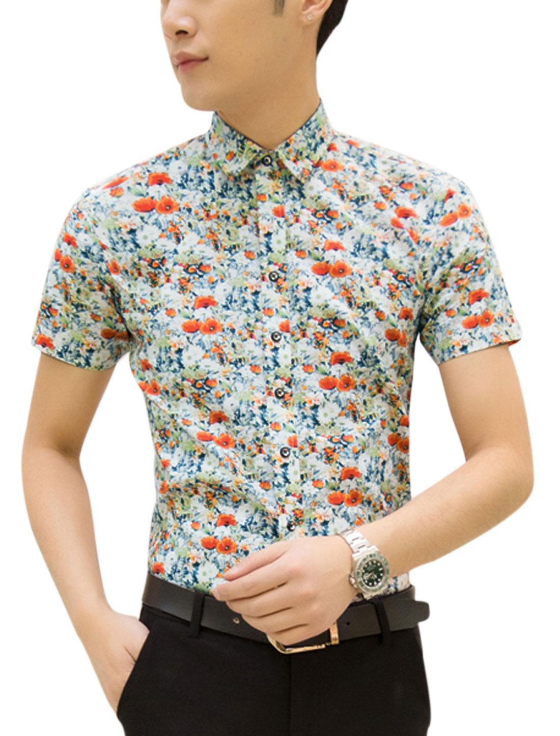 Men Short Sleeve Point Collar Flower Print Button Up Shirts White Orange M