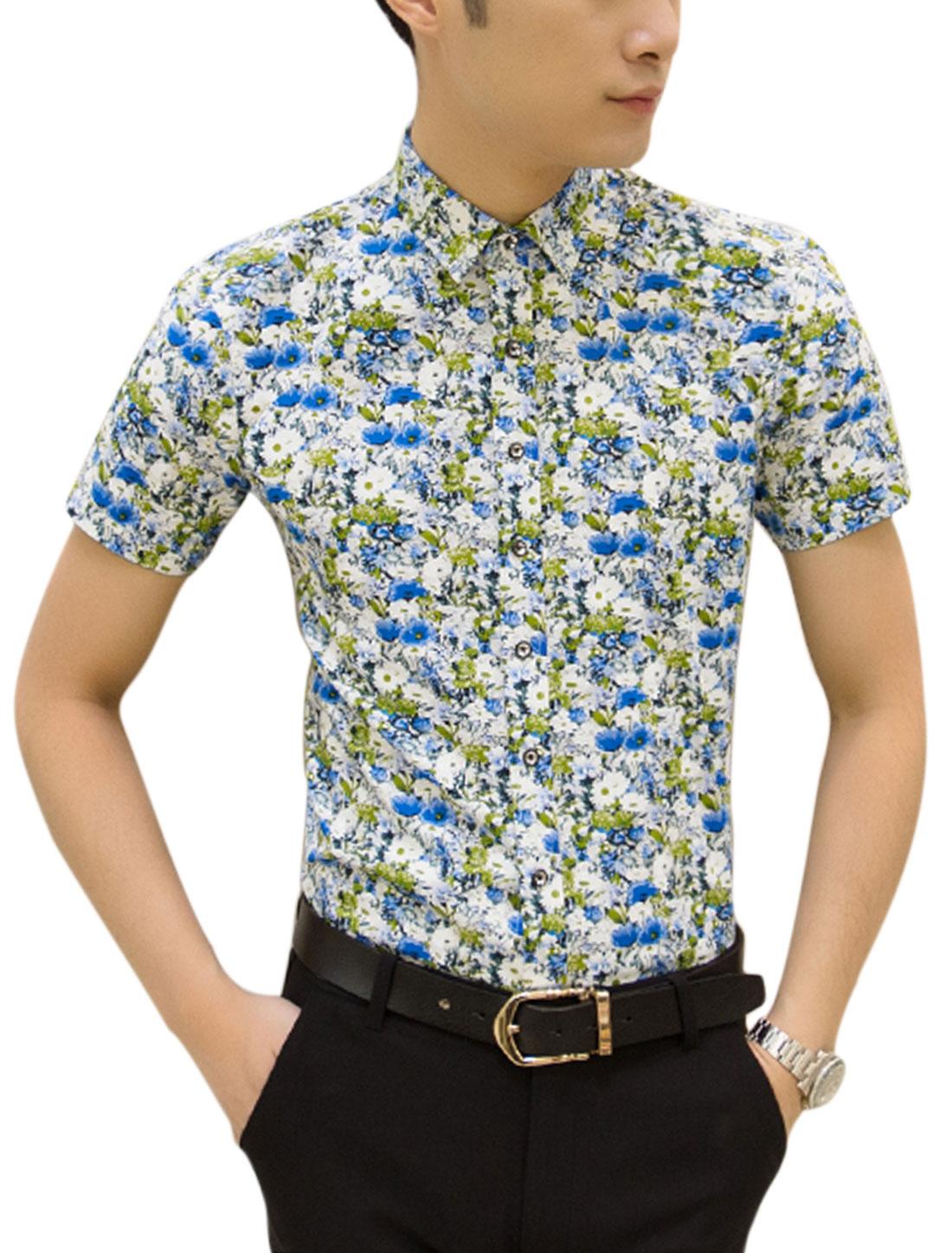 Men Short Sleeve Point Collar Floral Pattern Slim Fit Shirt White Blue M