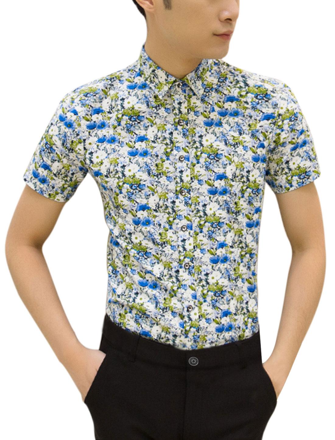 Men Short Sleeve Flower Print Button Up Casual Shirts White Blue M