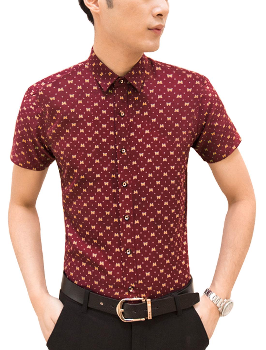 Men Short Sleeve Point Collar Dots Print Button Down Casual Shirt Burgundy M