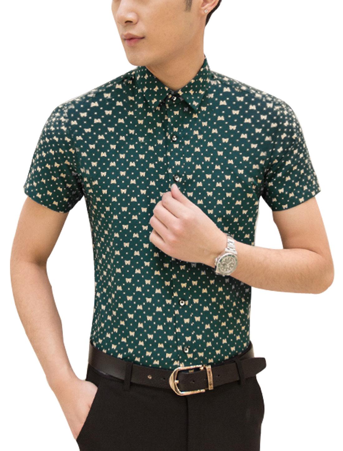 Men Short Sleeve Point Collar Button Up Leisure Shirts Dark Green M