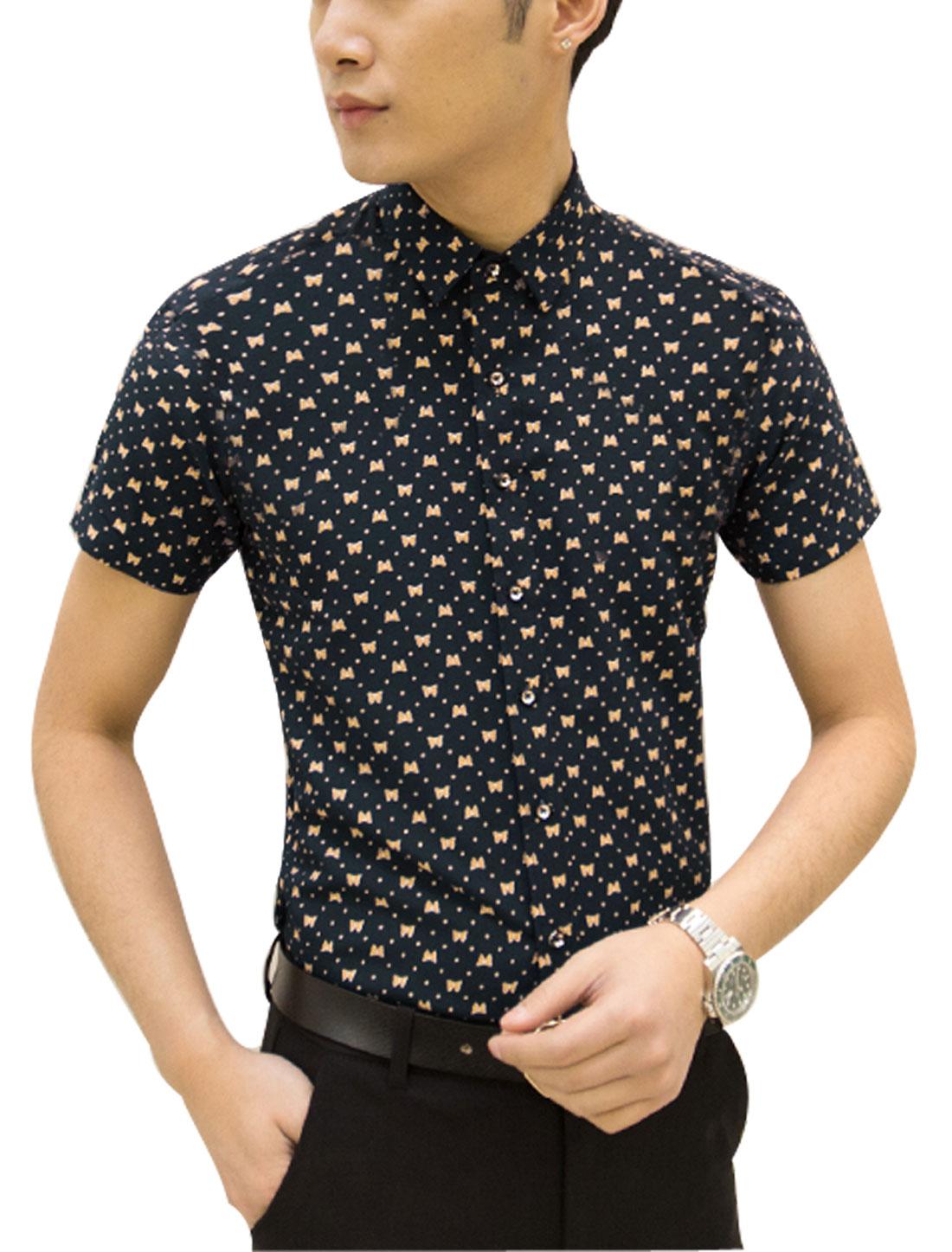 Men Short Sleeve Butterfly Print Button Down Slim Fit Shirt Navy Blue M