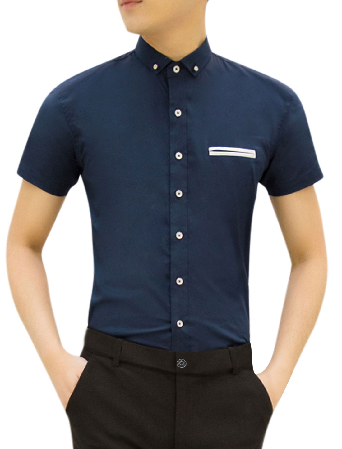 Men Short Sleeves Point Collar Slim Fit Button Up Leisure Top Navy Blue M