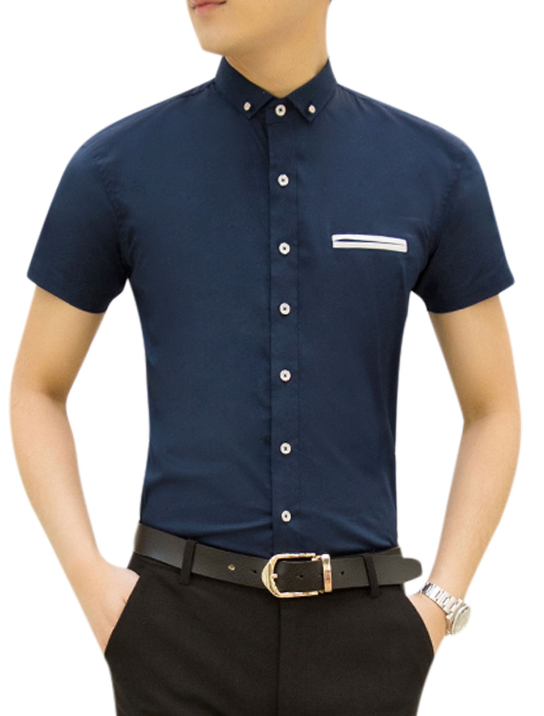 Men Short Sleeves Mock Welt Pocket Single Breasted Casual Top Navy Blue M