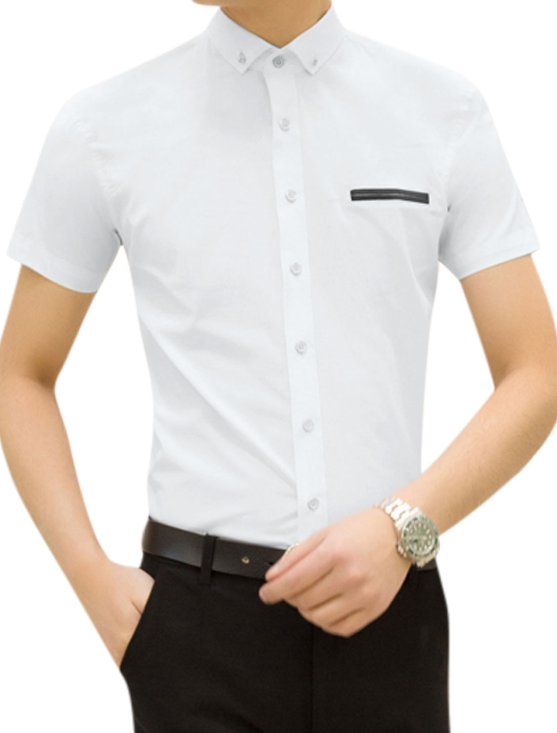 Men Short Sleeves Point Collar Mock Welt Pocket Casual Top Shirt White M