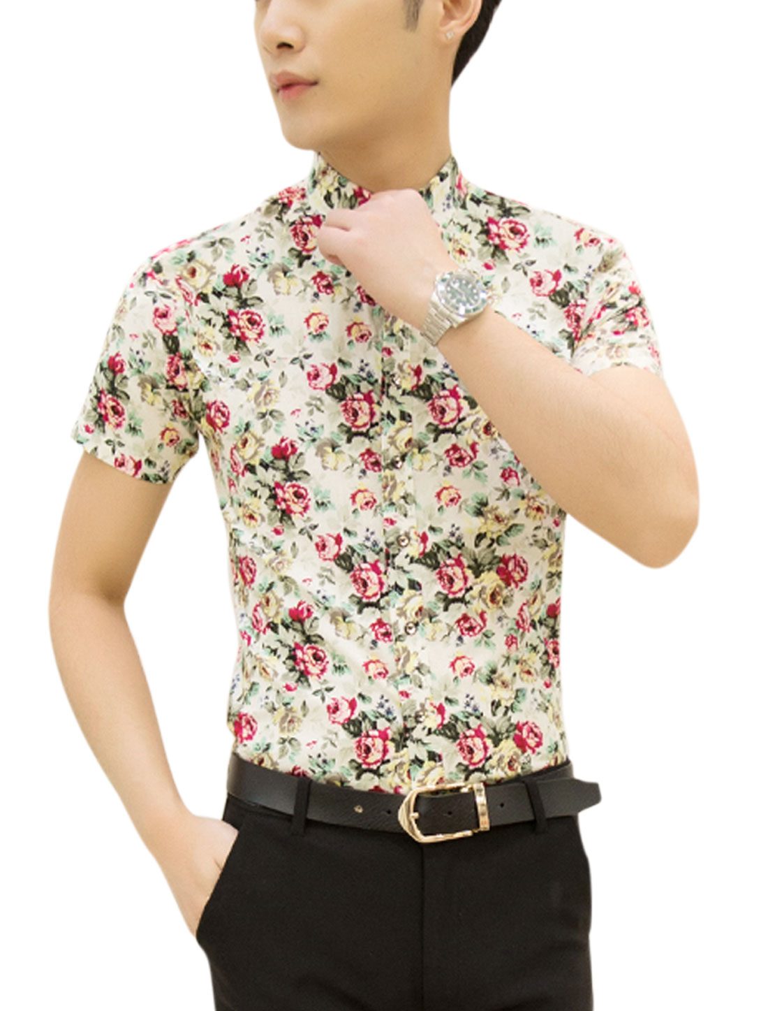 Men Point Collar Flower Prints Round Hem Casual Shirts Beige Fuchsia M