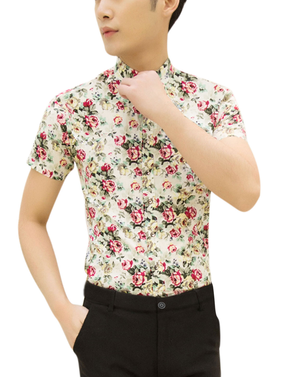 Men Short Sleeves Flower Prints Casual Shirts Beige Fuchsia M