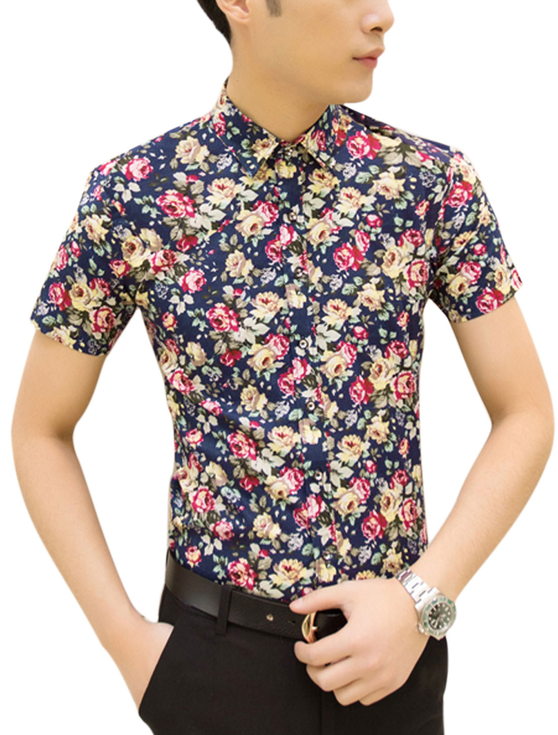 Men Flower Prints Button Closure Casual Shirts Navy Blue Fuchsia M