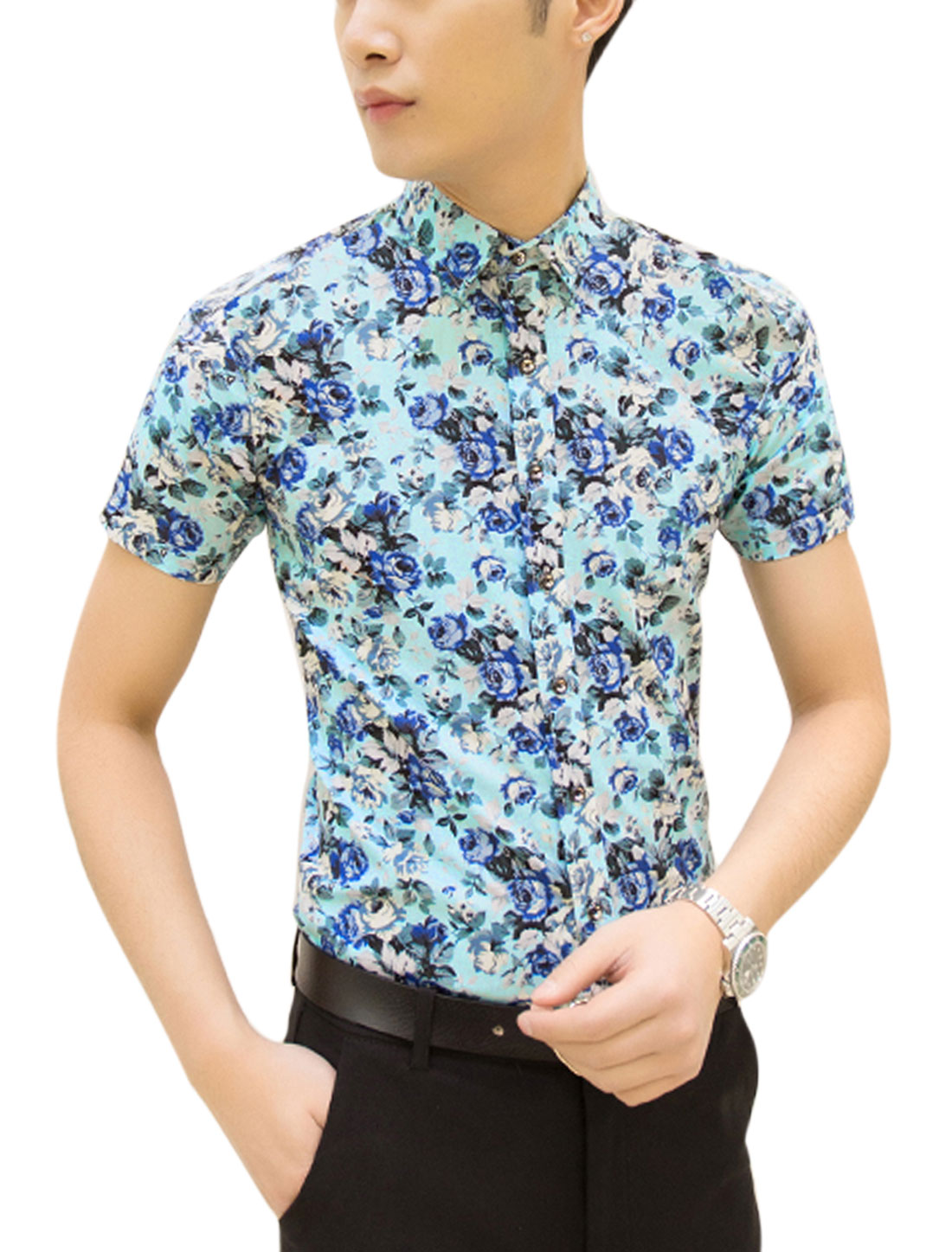 Men Short Sleeves Allover Prints Casual Shirts Blue M