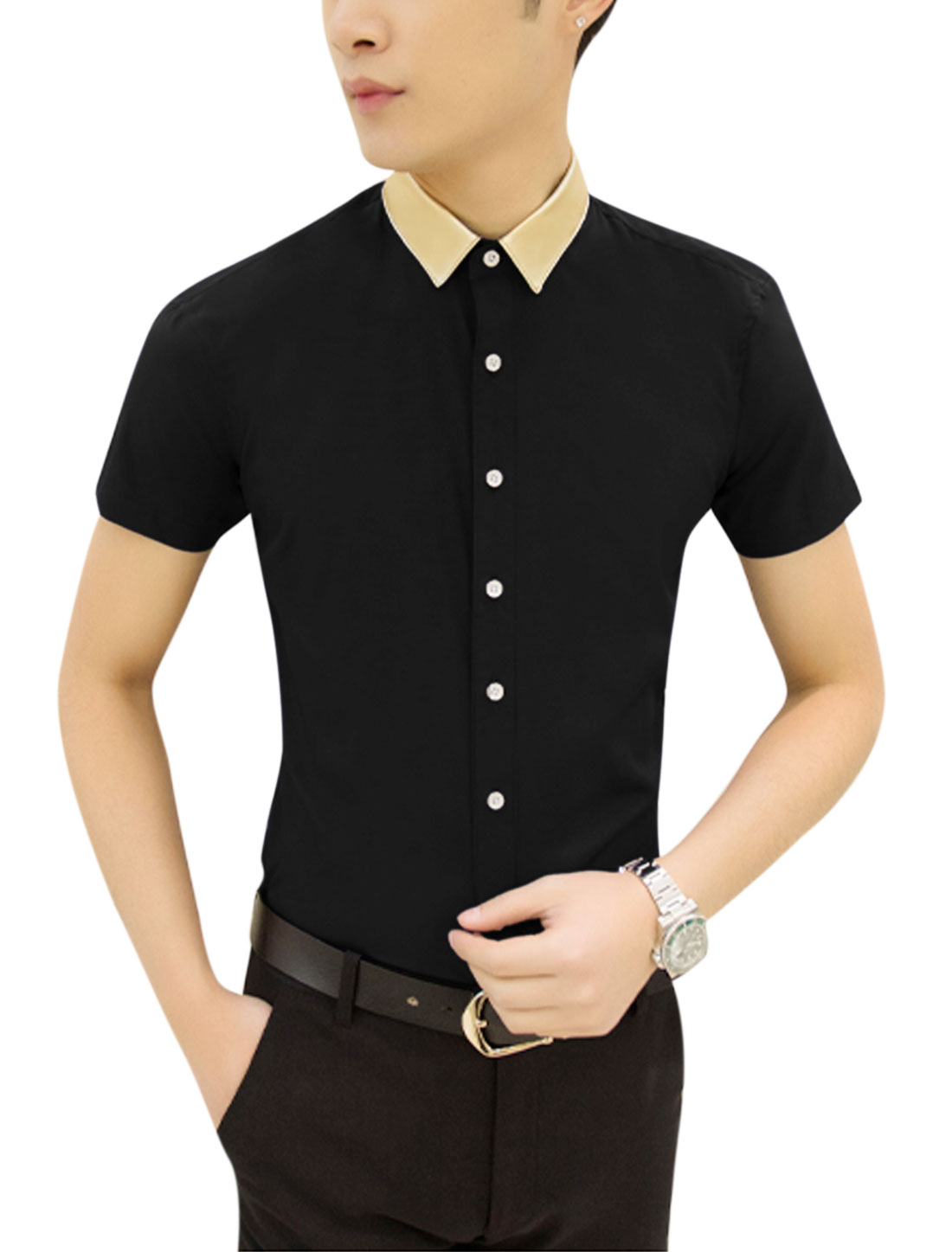 Man Point Collar Contrast Color Short Sleeves Button Down Shirt Black M