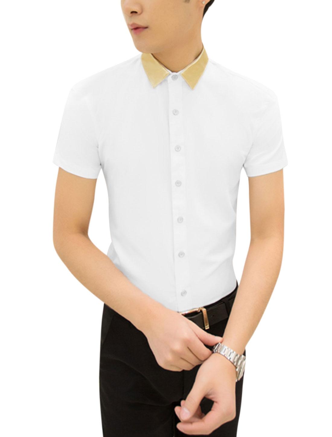Men Point Collar Contrast Color Button Closed Leisure Shirt White M